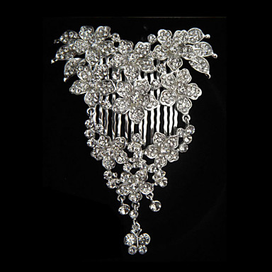 Alloy With Rhinestone And Pearl Bloom Bridal Comb