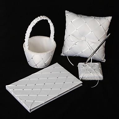 Свадебный набор из белого сатина (4 предмета)