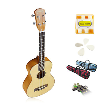 yadars - solid gran tenor ukulele med gig taske / pitch rør / picks / capo