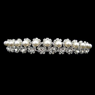ryddig legering med rhinestone og pearl brude tiara