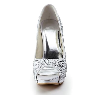 Ivoire Femme Aiguille Talon Eté Satin Plateau Chaussures Rose Printemps Mariage 00308162 Strass Amande r6vFrq