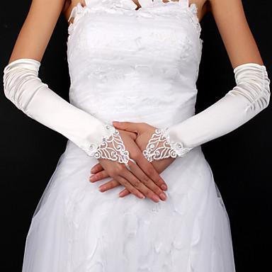 satijn / kant bruids vingerloze handschoenen elleboog lengte