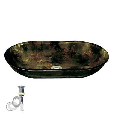 Moderní obdélníkový dřez Materiál je Tvrzené sklo Montážní kroužek do koupelny Kuchyňský odtok vody