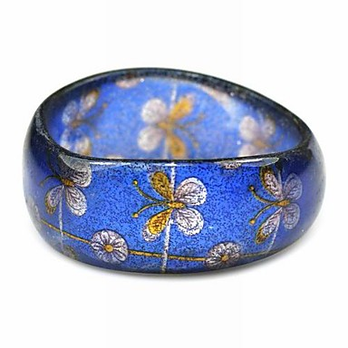 Ladies' Resin Round Bangles Classic Big Bracelet With Butterfly