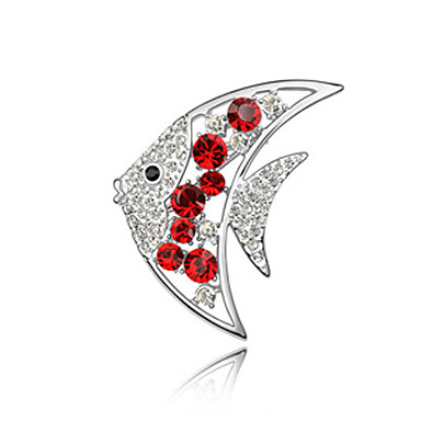 Gorgeous Crystal Platinum Plated Fish Brooch (More Colors)