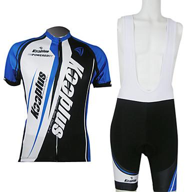 Kooplus Bărbați Manșon scurt Jerseu Cycling cu Colanți Bicicletă Pantaloni Scurți Ciclism cu Bretele Pantaloni Scurți Padded Jerseu Set