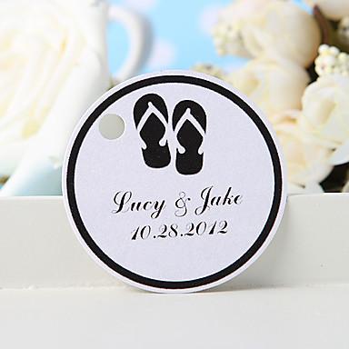 personalisierte Gunst Tag - zurück Pantoffeln (36) Hochzeit Bevorzugungen