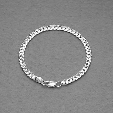 Fashion Silver Plated 5mm Flate Unisex Bracelet