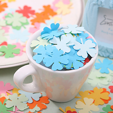 Wedding Décor Clover Shaped Paper Confetti - Pack of 350 Pieces (Random Color)
