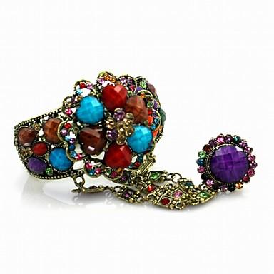 Ladies' Retro Alloy With Rhinestone Bangles & Cuffs Bracelet (More Colors)