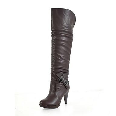 leatherette carretel joelho botas altas plataforma de calcanhar festa / noite de sapatos com lantejoulas (cores mais)