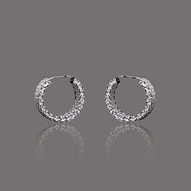 Gorgeous Silver Plate Mesh Huggie Earring