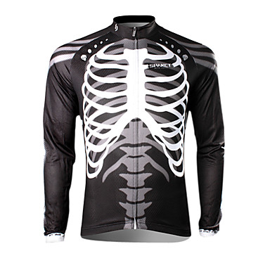 SPAKCT Men's Long Sleeves Cycling Jersey - Black/White Skull Bike Jersey, Thermal / Warm, Quick Dry, Ultraviolet Resistant, Breathable,