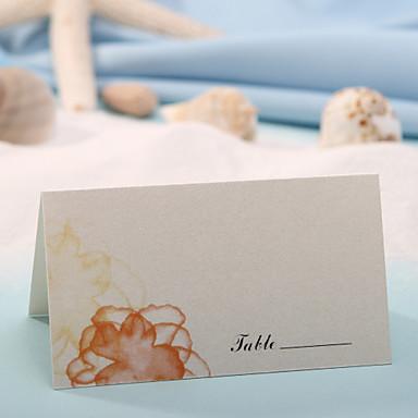 yer kartı - turuncu çiçek baskısı (12 kümesi) düğün