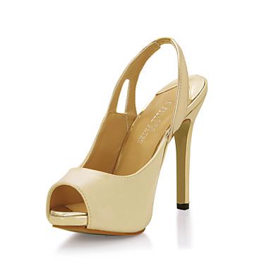 Damenschuhe - Sandalen - Kleid / Büro - Lackleder - Stöckelabsatz - Zehenfrei - Elfenbein
