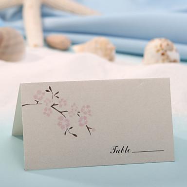 Yer kartları ve tutucuları yer kart - şeftali çiçeği (12 set)