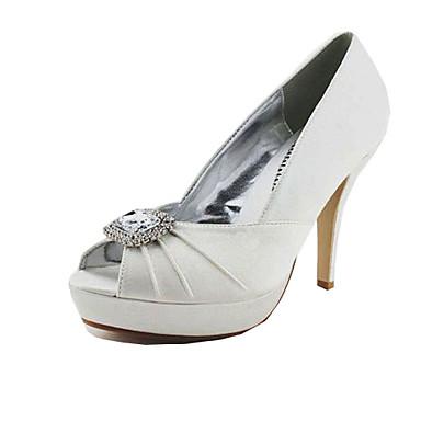 estilete peep toe de raso talón / bombas con diamantes de imitación fiesta / noche zapatos