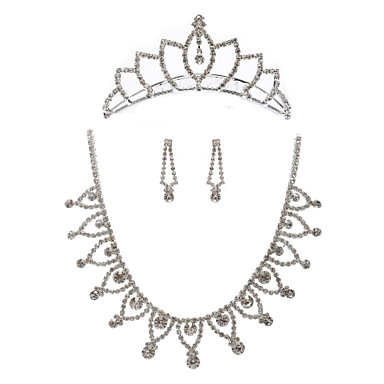 Shining Rhinestones Wedding Bridal Jewelry Set,Including Necklace,Tiara And Earrings