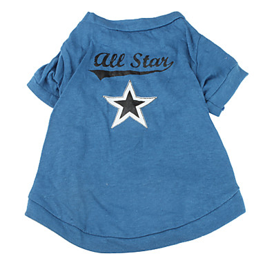 Dog Shirt / T-Shirt Dog Clothes Stars Blue Cotton Costume For Pets