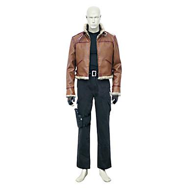 Inspireret af Resident Evil Leon Scott Kennedy video Spil Cosplay Kostumer Cosplay Suits Ensfarvet Brun Langt ÆrmeJakke / Vest / Bukser /