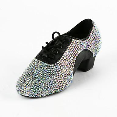 Erkek Latin Dans Ayakkabıları / Balo / Performans Suni Deri Topuklular Taşlı Düşük Topuk Kişiselletirilmemiş Dans Ayakkabıları Siyah