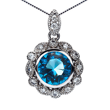 Gorgeous 925 Silver With Rhinestone Plating Platinum Women's Necklace
