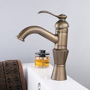 Antique Centerset Ceramic Valve One Hole Single Handle One Hole Antique Brass, Bathroom Sink Faucet