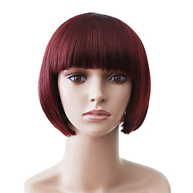 Capless Short Red Straight High Quality Synthetic Japanese Kanekalon Wig