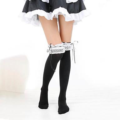 Strümpfe / Strumpfhosen Oberschenkellange Socken Lolita Damen Schwarz Druck Spitze Strümpfe Baumwolle Kostüme / Hochelastisch