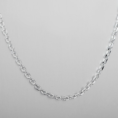 Fashion Jewelry Simply Necklace Silver Plate Thick Rolo Chain