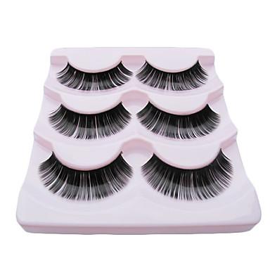 3Pair Black Fiber eyelash Lovely Girl False Eyelashes