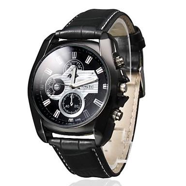 Herrn Quartz Armbanduhr Armbanduhren für den Alltag PU Band Charme Schwarz