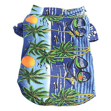 Gatto Cane T-shirt Abbigliamento Per Cani Floral - Botanico Giallo Blu Arcobaleno Cotone Costume Per Estate Per Uomo Per Donna Vacanze Di Tendenza #00506196
