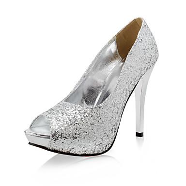 בלרינה\עקבים - נשים - נעלי חתונה - עקבים / נעלים עם פתח קדמי - חתונה - שחור / כסוף / זהב