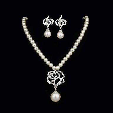 Perles élégant avec strass ensemble de bijoux des femmes y compris le collier, boucles d'oreilles