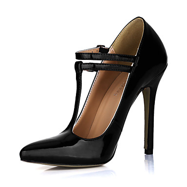Fashion Patent Leather Stiletto Heel Pumps With Buckle Party / Evening Shoes