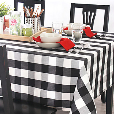 Noir / Bleu Lin Rectangulaire Nappes de table