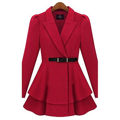 Kvinnors Skräddarsydd Ruffle Hem Tweed Coat