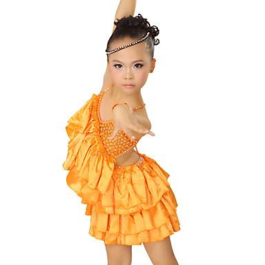 ספנדקס ביצועים Dancewear ושמלת סאטן ריקוד לטינית לילדים