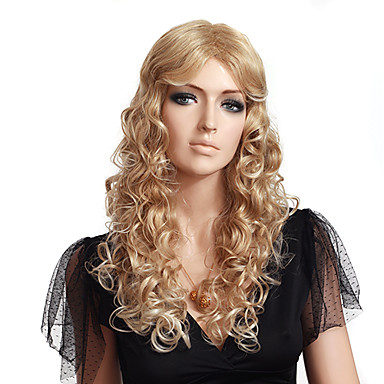 Suojuksettomat korkealaatuinen synteettinen pitkä aaltoileva blondi peruukki