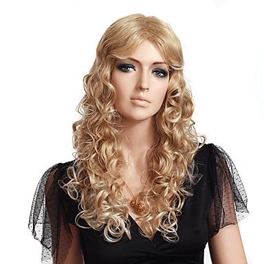 Capless 고품질 합성 긴 물결 모양 금발의 가발