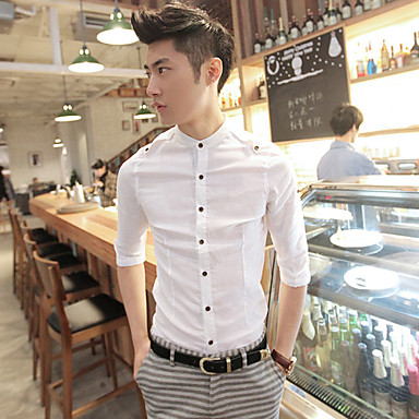 Men's Thin 1/2 Length Sleeve Cotton Shirt