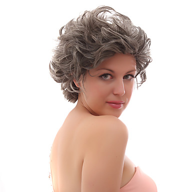 Synthetic Wig Natural Hairline Gray Women's Lace Wig Party