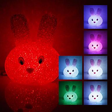 cristal în formă de iepure de schimbare a culorii luminii de noapte LED (USB)