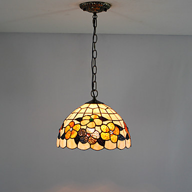 12 tommers tiffany-stil floral naturlig shell materiale invertert anheng lys (0835-d8009)