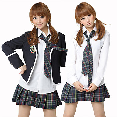 School Girl  White Shirt Ink Blue Check Pattern Skirt Costume (5 Pieces)