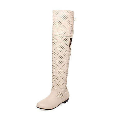 Fashion Leatherette Low Heel Knee High Boots With Hollow-out Party / Evening Shoes(More Colors)
