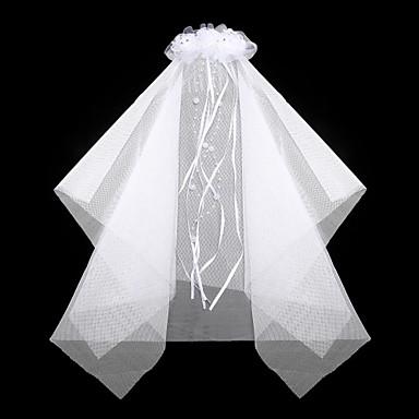 nydelig satin / blonder med rhinestone / imitasjon perle bryllup blomsterpike slør / hodeplagg kammer
