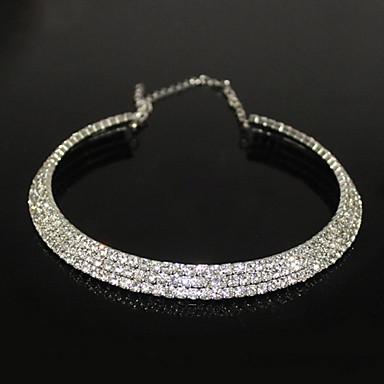 Kadın's Kristal Tenis zinciri Gerdanlıklar - Zirkon, Yapay Elmas, Gümüş Kaplama Moda Gümüş Kolyeler Mücevher Uyumluluk Parti