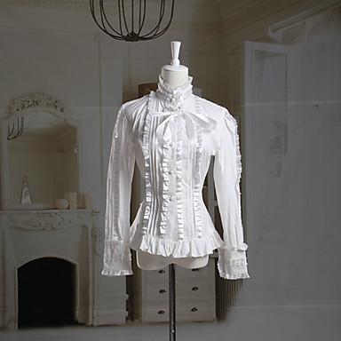 Halenka / košile Klasická a tradiční lolita Lolita Cosplay Lolita šaty Bílá Jednobarevné Dlouhé rukávy Lolita Halenka Pro Dámské Bavlna